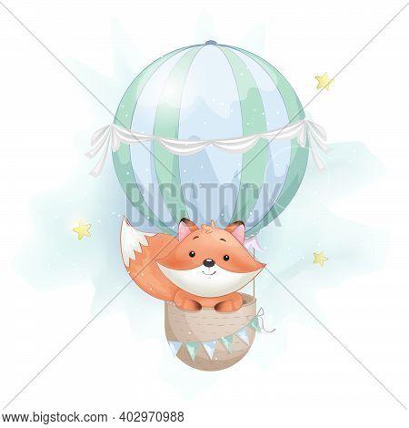 Cute Foxy Flying On Big Air Balloon. Adorable Fox Cartoon Character. Stock Vector Illustration