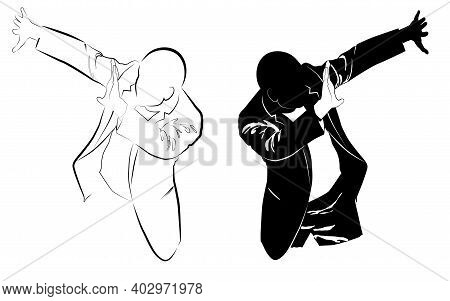 Silhouette Of A Man In A Business Suit Defends Himself With His Hands From A Threat Vector Illustrat