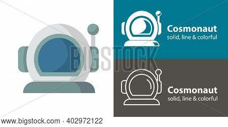 Astronaut Helmet Isolated Vector Icon. Space Line Solid Flat Icon