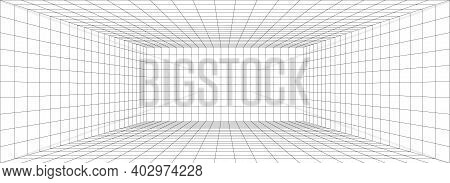 Perspective Grid Background 3d Vector Illustration. Model Projection Background Template. Line One P