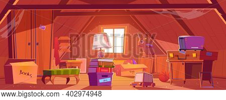 Attic Room With Old Things, Garret On Roof With Window And Furniture. Discreet Place With Carton Box