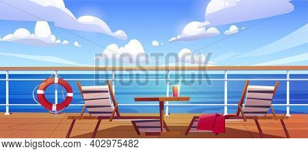 Cruise Ship Deck With Sun Loungers, Wooden Table With Cocktail And Lifebuoy Hang On Fencing. Empty M