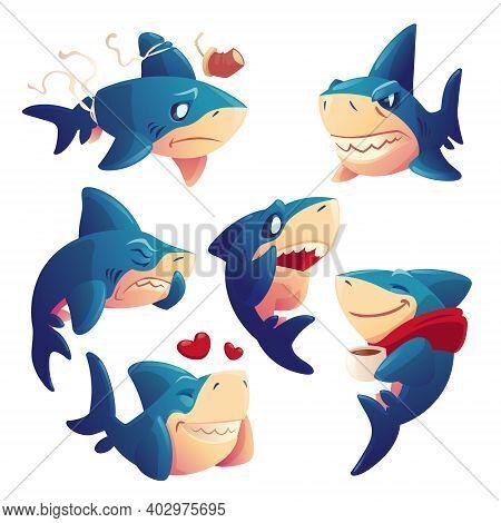 Cute Shark Cartoon Character, Funny Fish Mascot, Underwater Animal Express Emotions Fall In Love, Sm