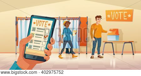 Polling Place And Mobile App For Vote At Election Day. People Choosing Candidate In Voting Booths An