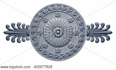 Metal Gray Decorative Wreaths Isolated On White Background. Design Element With Clipping Path