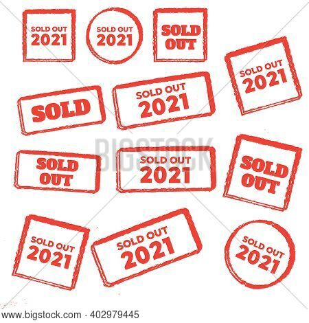 Red Sold Stamp Logo. Sold Out Stamps Grunge. Sold Out Badge