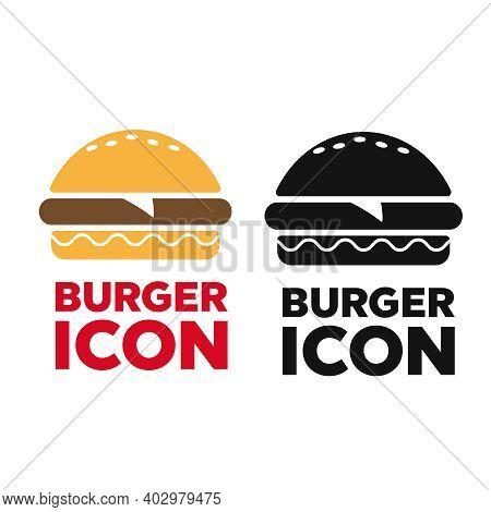 Fast Food Icon. Burger Icon Vector. Burger Sign Or Symbol
