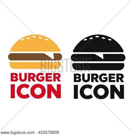 Icon Burger Single. Fast Food Icon. Burger Vector Silhouette