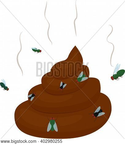 Cartoon Stinking Poo With Flies Icon. Smelling Pile Of Shit Vector Illustration Isolated On White