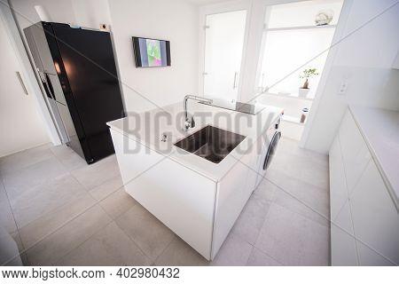 New Modern Kitchen White And Black , Indoor