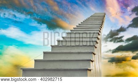 Staircase to the sky at sunset time