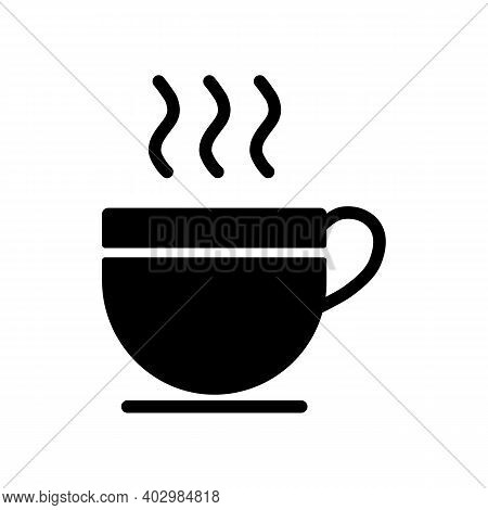 Cup Of Coffee Tea With Steam Vector Glyph Icon. Kitchen Appliance. Graph Symbol For Cooking Web Site