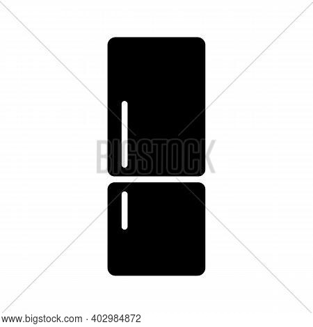 Refrigerator Vector Glyph Icon. Electric Kitchen Appliance. Graph Symbol For Cooking Web Site Design