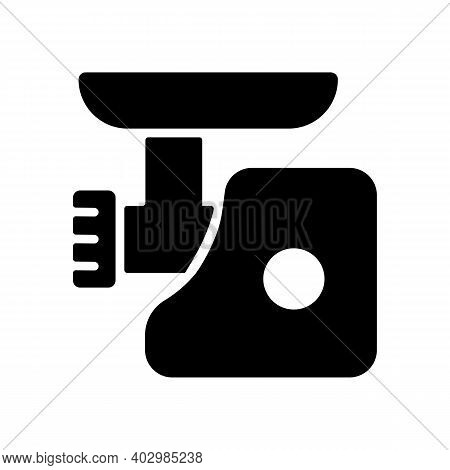 Electric Meat Grinder Vector Glyph Icon. Electric Kitchen Appliance. Graph Symbol For Cooking Web Si