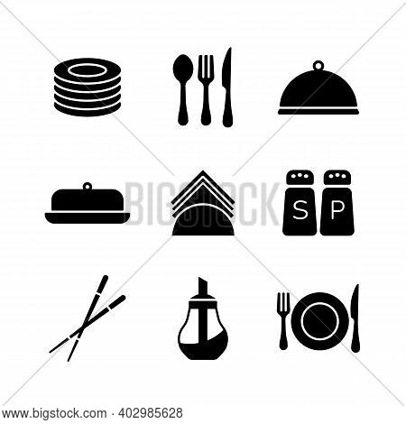 Restaurant Vector Icon Glyph Set. Serving Food Sign. Graph Symbol For Cooking Web Site And Apps Desi