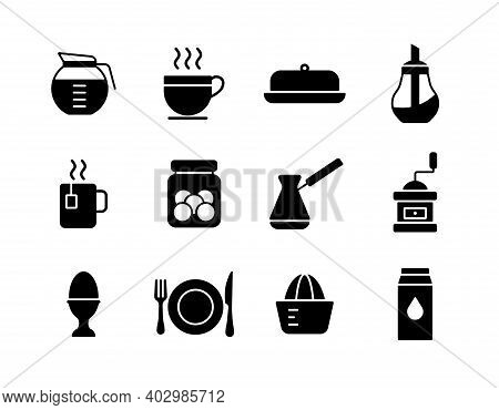 Breakfast And Kitchen Vector Icon Glyph Set. Graph Symbol For Cooking Web Site And Apps Design, Logo