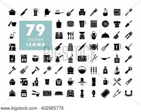 Cooking And Kitchen Vector Glyph Icons Set. Graph Symbol For Cooking Web Site Design, Logo, App, Ui