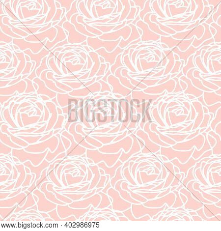 Modern Fashionable Vector Seamless Floral Ditsy Pattern Design Of Rose Outlines. Elegant Repeating B