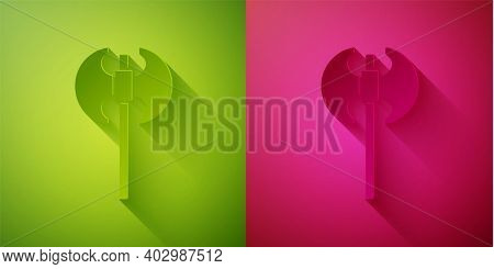 Paper Cut Medieval Axe Icon Isolated On Green And Pink Background. Battle Axe, Executioner Axe. Medi