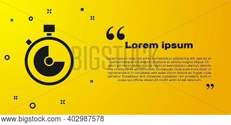 Black Stopwatch Icon Isolated On Yellow Background. Time Timer Sign. Chronometer Sign. Vector