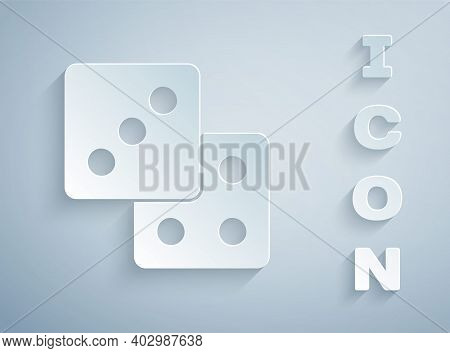 Paper Cut Game Dice Icon Isolated On Grey Background. Casino Gambling. Paper Art Style. Vector
