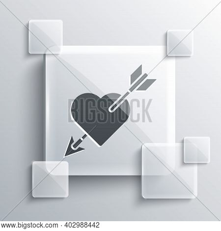 Grey Amour Symbol With Heart And Arrow Icon Isolated On Grey Background. Love Sign. Valentines Symbo