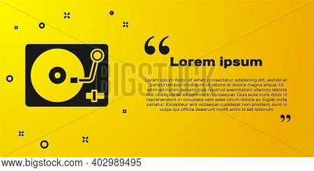 Black Vinyl Player With A Vinyl Disk Icon Isolated On Yellow Background. Vector