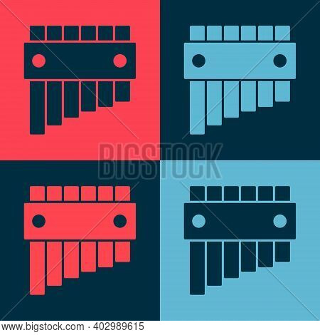 Pop Art Pan Flute Icon Isolated On Color Background. Traditional Peruvian Musical Instrument. Folk I