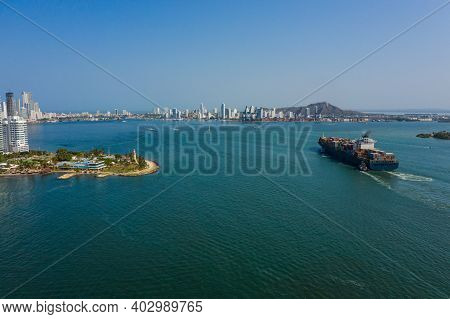 Cargo Ship Enters The Port In Cartagena Colombia Aerial View