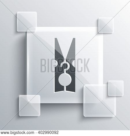 Grey Old Wood Clothes Pin Icon Isolated On Grey Background. Clothes Peg. Square Glass Panels. Vector