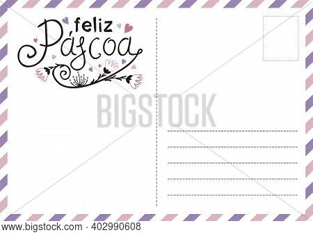 Portuguese Happy Easter Postcard With Flowers And Hearts. Cute Greeting Card. Hand Drawn Airmail Env