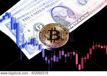 Bitcoin Btc Cryptocurrencies On Dollars With Falling Crashing Graph In Background.