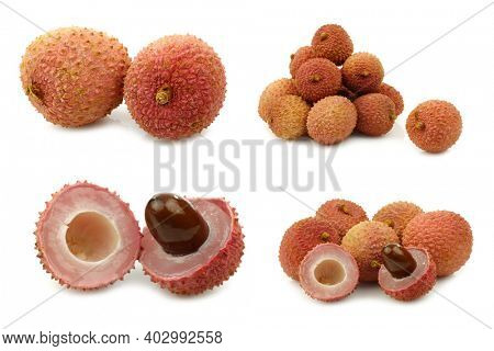 bunch of fresh lychees and some cut ones on a white background
