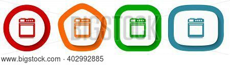 Stove And Oven Vector Icon Set, Flat Design Buttons On White Background