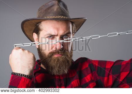 Metal Chain. Serious Bearded Man. Man With Metal Chain. Dependence. Freedom Concept. Bearded Man Wit