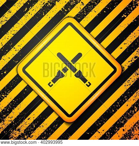 Black Marshalling Wands For The Aircraft Icon Isolated On Yellow Background. Marshaller Communicated
