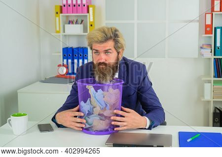 Bearded Businessman With Trash Can. Wastebasket. Ideas. Business. Office