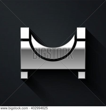 Silver Skate Park Icon Isolated On Black Background. Set Of Ramp, Roller, Stairs For A Skatepark. Ex