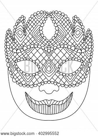 Mardi Gras Carnival Jester Venetian Mask Coloring Page Vector. Fat Tuesday Festival Joker Character