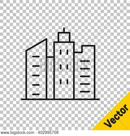 Black Line City Landscape Icon Isolated On Transparent Background. Metropolis Architecture Panoramic