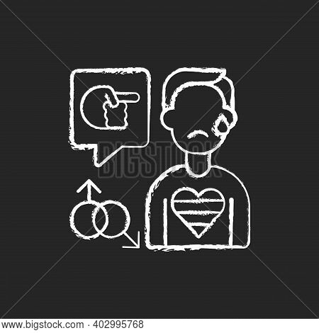 Lgbt Cyberbullying Chalk White Icon On Black Background. Transphobic And Homophobic Offensive Commen