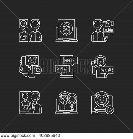 Online Harassment And Bullying Chalk White Icons Set On Black Background. Weight-base Cyberbullying