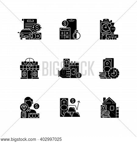Pawnshop Black Glyph Icons Set On White Space. Vehicle Title Loan. Price Calculation. Antique Furnit