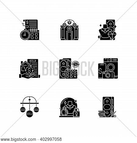 Pawnbrokery Black Glyph Icons Set On White Space. Time Limit. Upscale Pawnshops. Product Valuable. C
