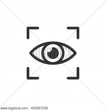 Eye Scanner Black Vector Icon. Retina Scan Simple Symbol.