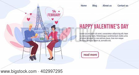 Vector Cartoon Flat Characters, Valentine Day Greeting Card Design.happy Loving Man Woman On Romanti