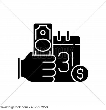 Payday Loan Black Glyph Icon. Short-term Borrowing. Cash Advance. Extending High Interest Credit. Se