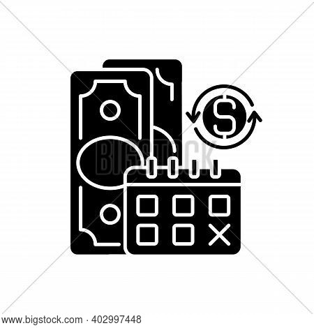Regular Payments Black Glyph Icon. Coverage Term. Determined Interval. Recurring Payment. Debt Satis