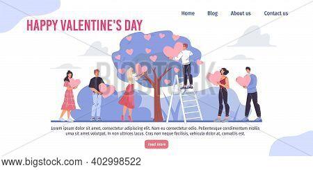 Vector Cartoon Flat Characters, Valentine Day Greeting Card Design.happy Loving Man Woman Hang Love