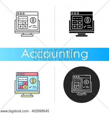 Accounting Software Icon. Application Software That Records And Processes Accounting Transactions Wi